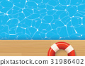 Red pool ring and swimming pool. Summer background 31986402