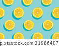 Slices of fresh yellow lemon summer background. 31986407