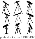 Vector silhouettes of telescopes. 31986492