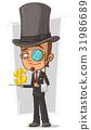 Cartoon stylish intelligent with monocle 31986689