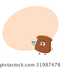 Funny smiling dark, brown bread slice character 31987478