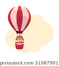 Little girl with ponytails flying in hot air 31987901