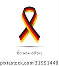 Colored vector ribbon with the German tricolor 31991449