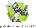 Green recycle symbol with household appliances 31992427