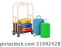 Luggage cart or hotel trolley 31992428