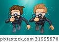 Two divers making hand gesture underwater 31995976