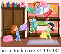 Girls having slumber party in bedroom 31995981