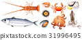 Different types of seafood 31996495