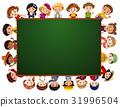 Blackboard with many kids around the border 31996504