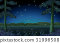 Scene with fireflies in forest at night 31996508