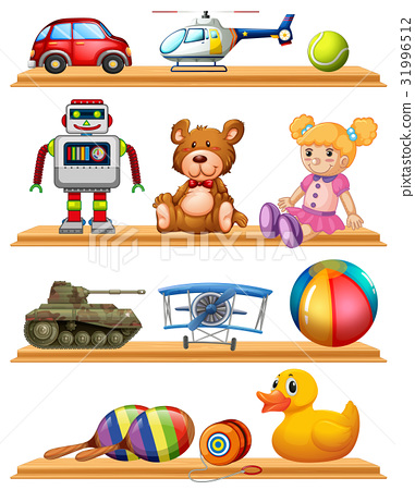 Different toys on wooden shelves 31996512