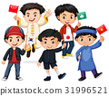 Happy boys holding flag from different countries 31996521