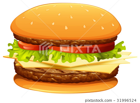 Hamburger with meat and cheese 31996524