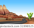 Nature scene with empty road in desert land 31996525