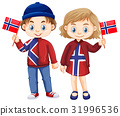 Happy boy and girl holding flag of Norway 31996536