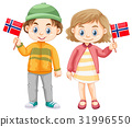 Boy and girl holding flag of Norway 31996550