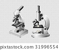 Two microscopes on transparent background 31996554