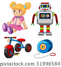 Doll and other toys on white background 31996560