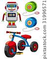 Many toys on white background 31996571