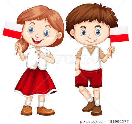 Happy boy and girl holding flag of Poland 31996577