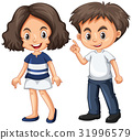 Cute boy and girl with happy face 31996579