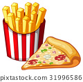 Slice of pizza and bag of frenchfries 31996586