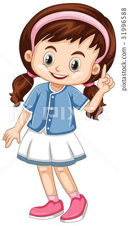 Little girl pointing finger up 31996588