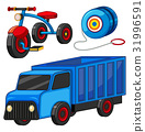 Truck and tricycle toys 31996591