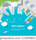 Cartoon Port Town and Barge Ship Concept Banner 31999862