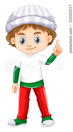 Little boy pointing his finger up 32000917