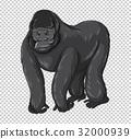 Wild gorilla on transparent background 32000939