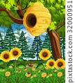 scene, beehive, tree 32000951