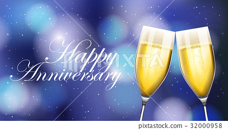 Two champaign glasses on anniverary card 32000958