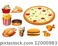 Different kinds of fastfood 32000963