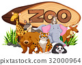 Wild animals by the zoo sign 32000964