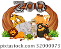 Zookeeper and wild animals at zoo entrance 32000973
