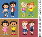 Cute boys and girls in four backgrounds 32000983