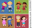 Four couple of kids in different costumes 32000987