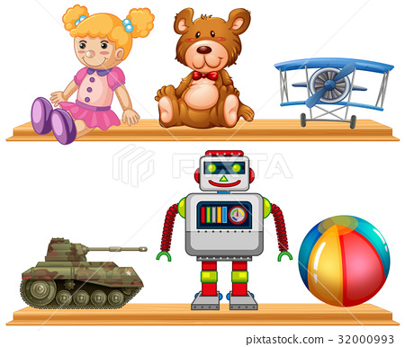 Different types of toys on wooden shelf 32000993