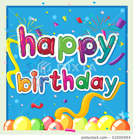 Happy birthday card template with balloons 32000994