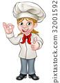 Female Chef Cartoon Character 32001592