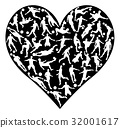 Silhouettes Soccer Heart 32001617