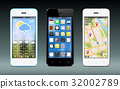 Smart phones with apps, weather and GPS widgets 32002789