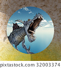 Flying dragon in front of a circular wall opening 32003374