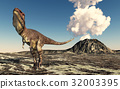 Dinosaur Mapusaurus and volcano 32003395