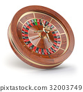 Casino roulette wheel isolated on white background 32003749