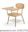Wooden school desk and chair isolated on white. 32003750