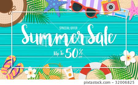 Summer sale background. Season vacation, weekend. 32006825