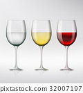 Set of glasses with red and white wine and water. 32007197