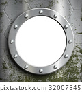 Metal porthole with rivets. 32007845